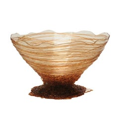 Ogiva Medium Resin Basket in Clear and Amber by Gaetano Pesce