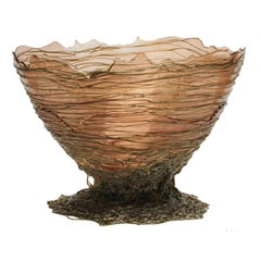 Ogiva XL Resin Basket in Clear Pink and Bronze by Gaetano Pesce