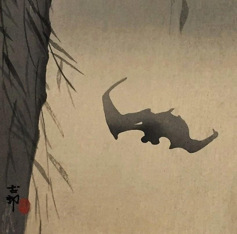 Bats Against a Full Moon - Print by Ohara Koson
