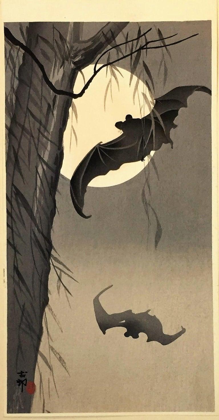 Bats Against a Full Moon - Brown Animal Print by Ohara Koson