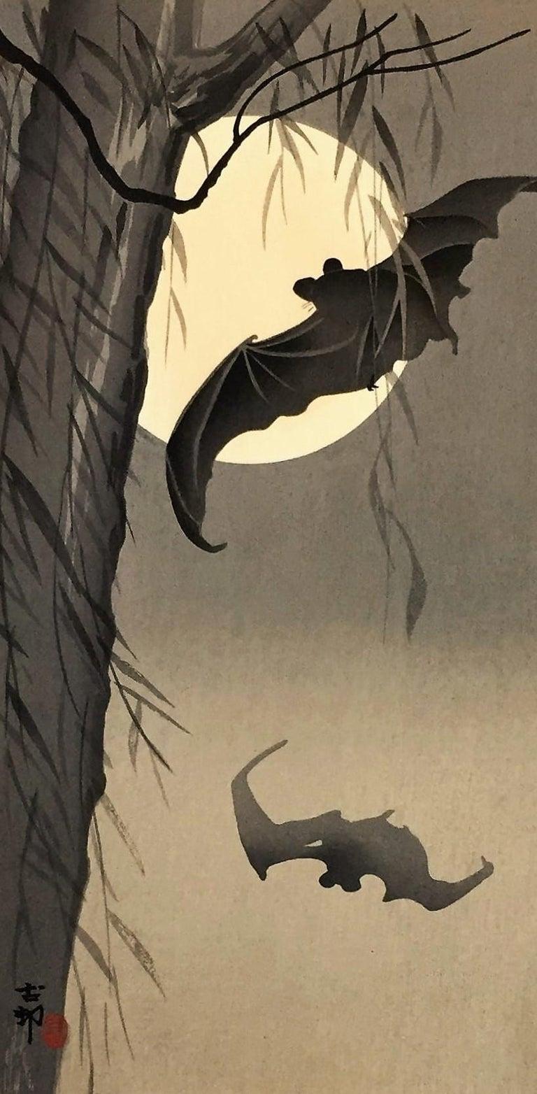 Bats Against a Full Moon. 1933.Otanzaku: 13 7/8 x 7 1/8 (sheet 14 1/2 x 7 7/16). Publisher: Daikokuya. Illustrated: Newland an Uhlenbeck, Ukiyo-e to Shin Hanga, p. 201; Newland et al. Crows, Cranes & Camellias ,p. 138, checklist K41.3, catalog 135.