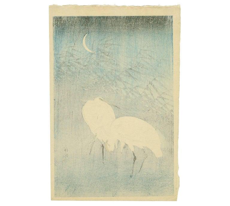 Egrets and Crescent Moon - Print by Ohara Koson