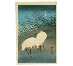 Egrets and Crescent Moon