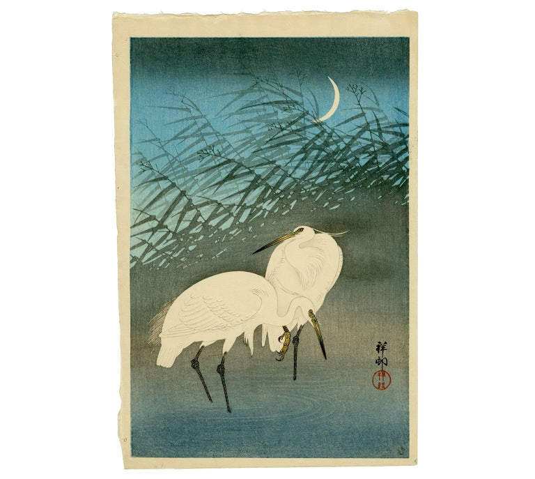 Ohara Koson Landscape Print - Egrets and Crescent Moon
