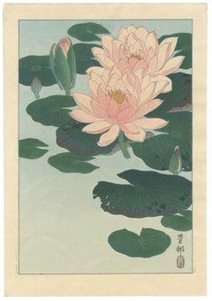 Ohara Koson, Original Japanese Woodblock Print, Water Lilies, Pink, Flowers, Art