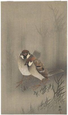 Ohara Koson, Japanese Woodblock Print, Bird & Flower, Shin-Hanga, Sparrows, Rain