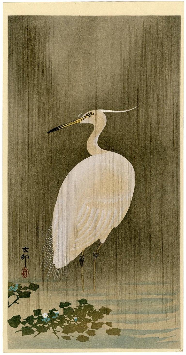 Ohara Koson Landscape Print - Wading Egret