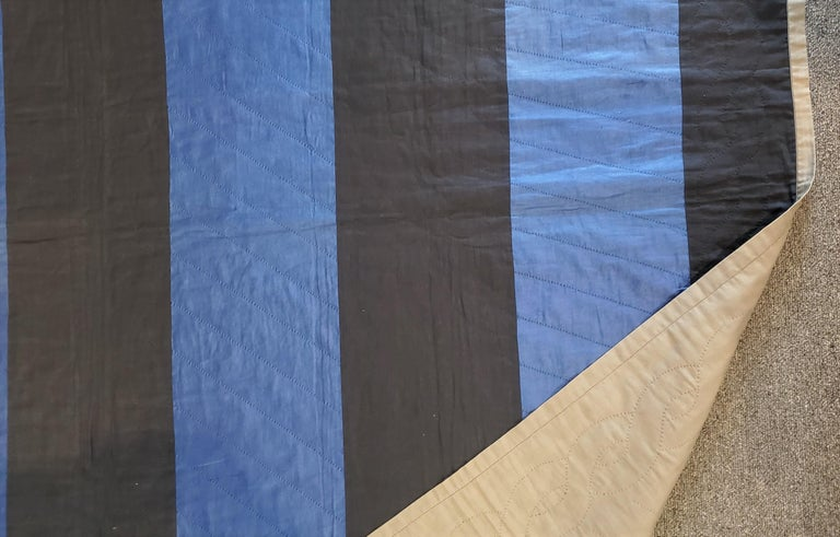 Country Ohio Amish Bars Quilt  -Dated 1947 For Sale