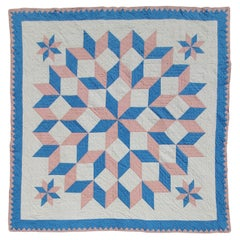 Ohio Amish Blue & Pink Star Quilt