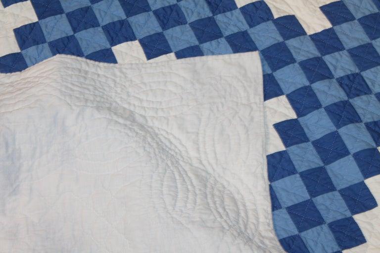 Cotton Ohio Amish Triple Irish Chain Quilt For Sale