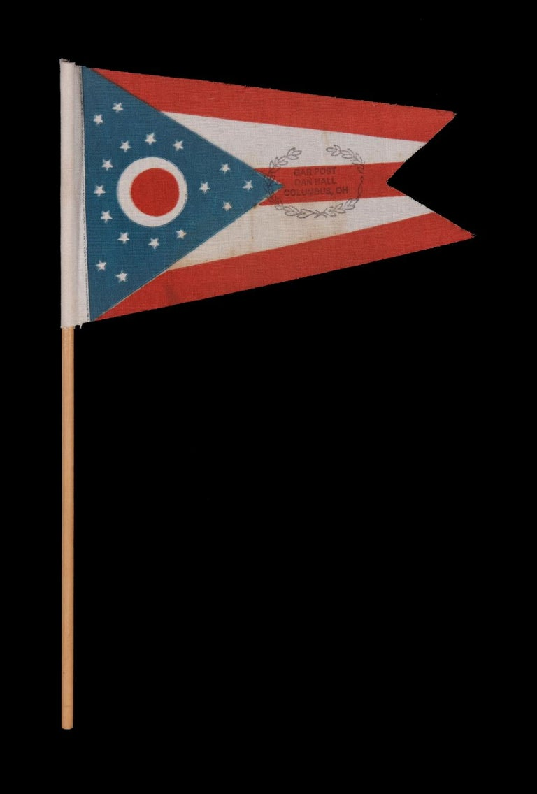 Ohio State Flag With Civil War Veterans' Overprint From The Grand Army Of The Republic Post In Columbus, Made In Mourning Of The 1925 Passing Of National G.a.r. Commander In Chief Daniel M. Hall, Who Also Served As Commander Of The Ohio Department