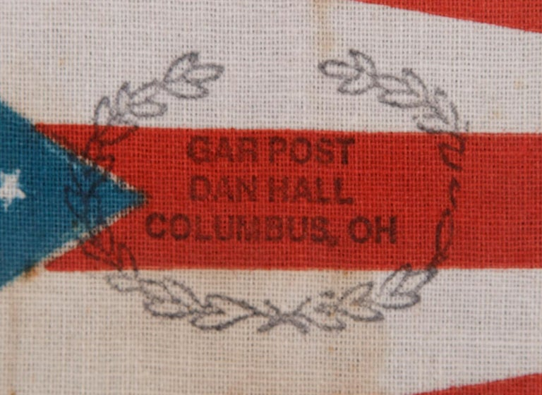 American Ohio State Parade Flag with a Civil War Veterans Overprint For Sale