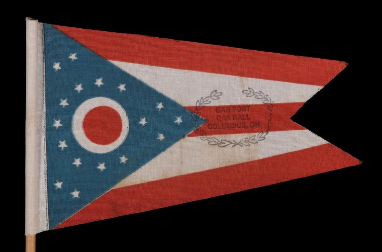 Ohio State Parade Flag with a Civil War Veterans Overprint In Good Condition For Sale In York County, PA