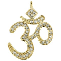 Ohm Spiritual Diamond 18 Karat Gold Pendant Necklace