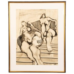 Oil Drawing of Two Nude Woman by Seymour Segal, circa 1971