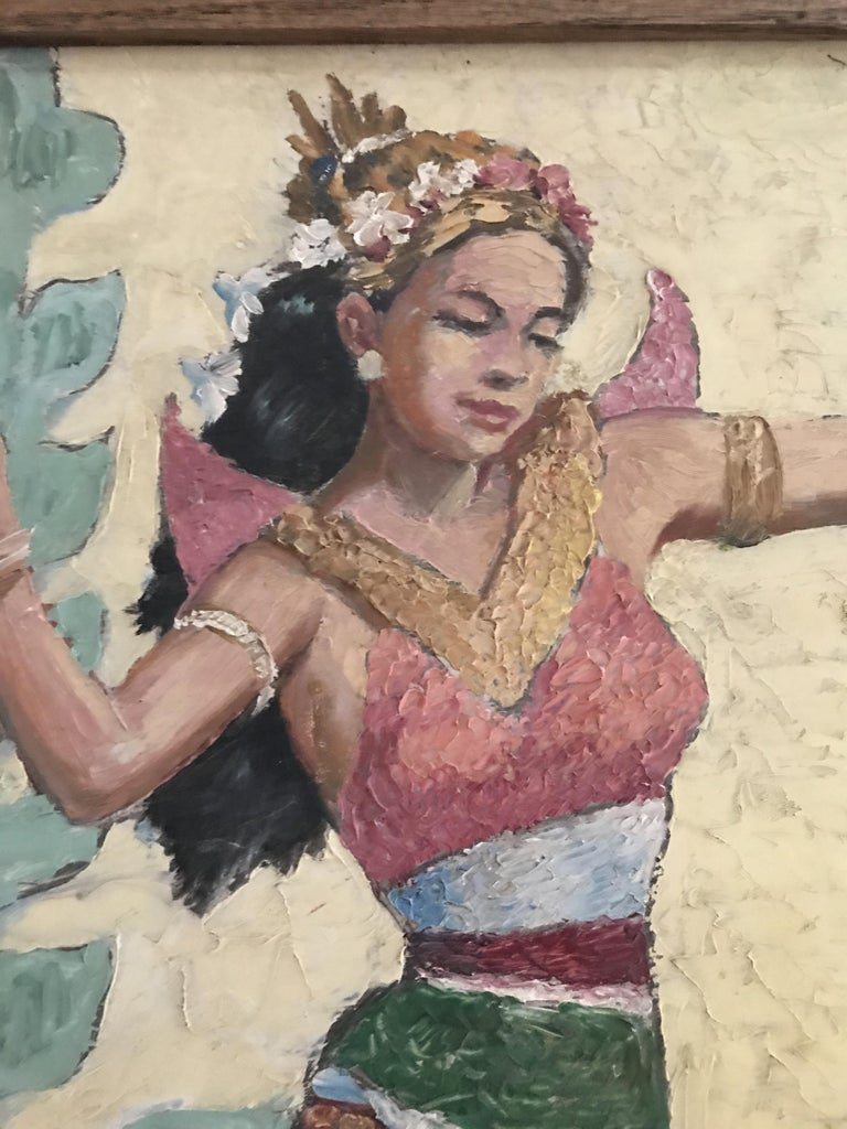 Graceful knife painting of an Indian dancer. The use of the knife instead of the brush gives the subject a lot of texture and strength.
