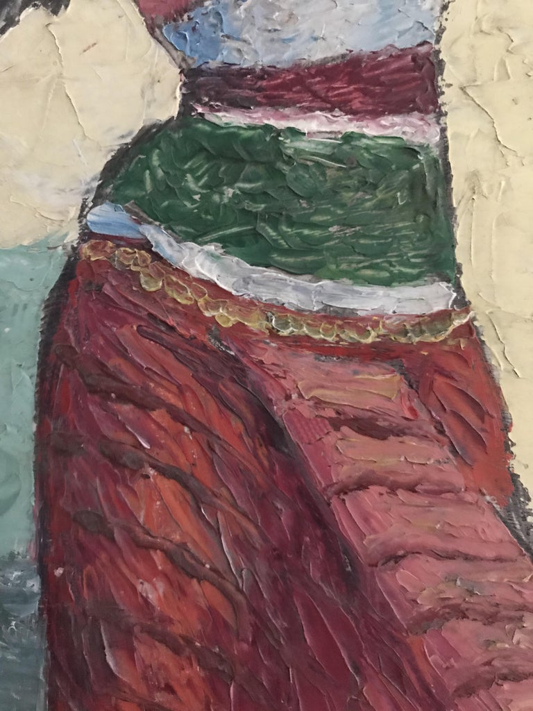 20th Century Oil Knife Painting of an Indian Dancer For Sale