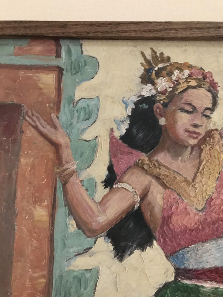 Wood Oil Knife Painting of an Indian Dancer For Sale