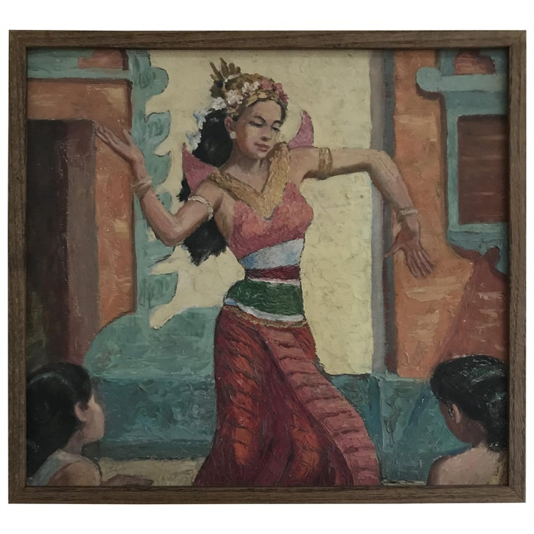 Oil Knife Painting of an Indian Dancer For Sale