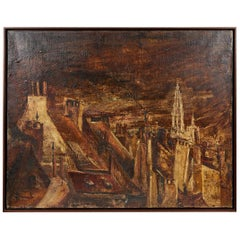 Oil Landscape Painting of Belgian Town in Gilt Frame, circa 1890
