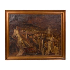 Oil Landscape Painting of Belgian Town in Gilt Frame Circa 1890