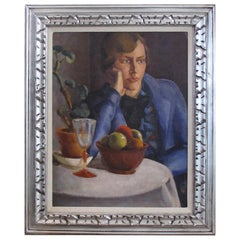 Oil on Board, a Finely Rendered Continental Art Deco Painting of a Seated Woman