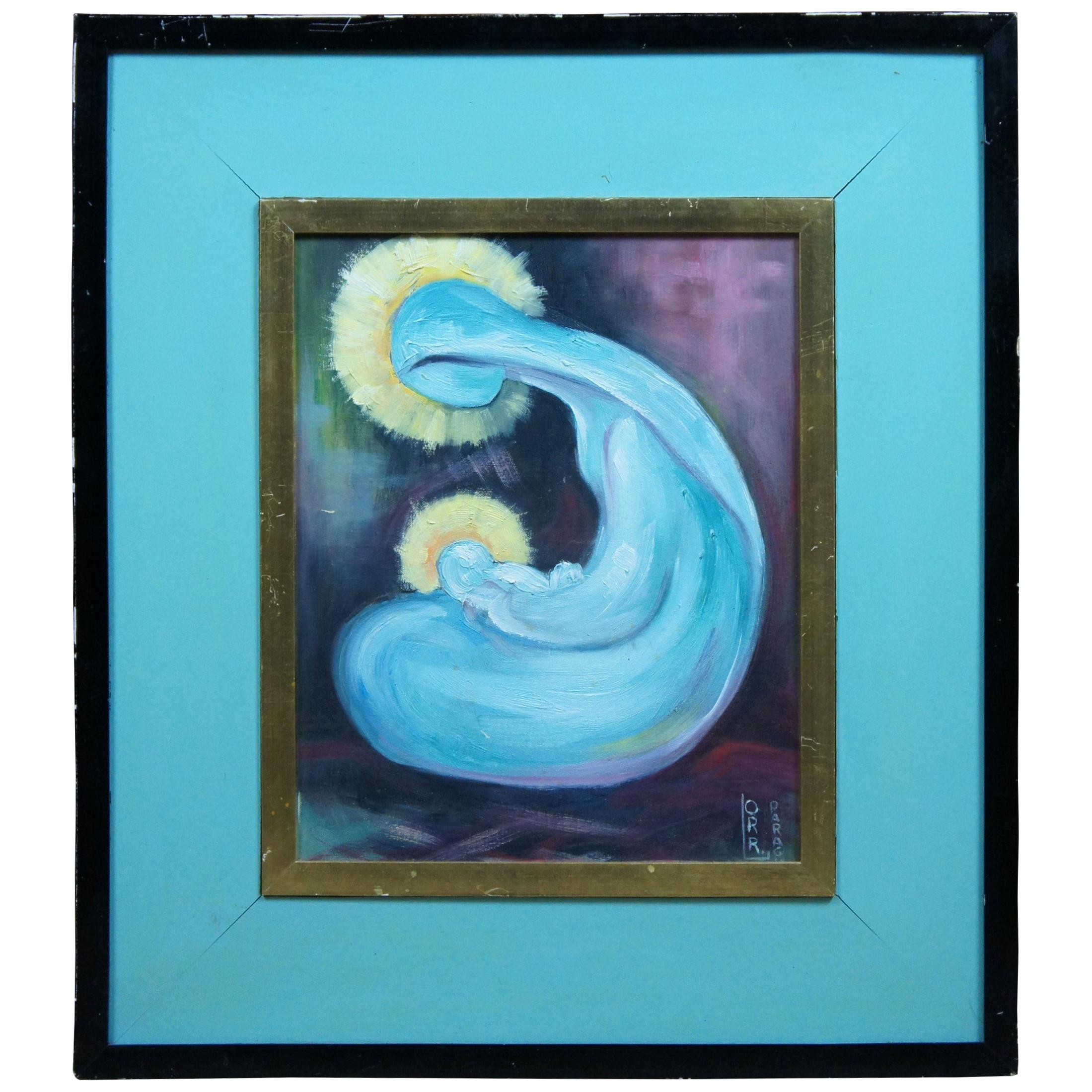 Oil on Board Abstract Expressionism Madonna and Child