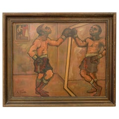"Oil on Board by Arthur Smith, ""Boxer"", circa 1940"