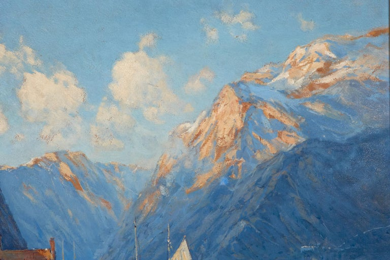 Modern Oil on Board by Arthur Vidal Diehl Mountains and Harbor For Sale