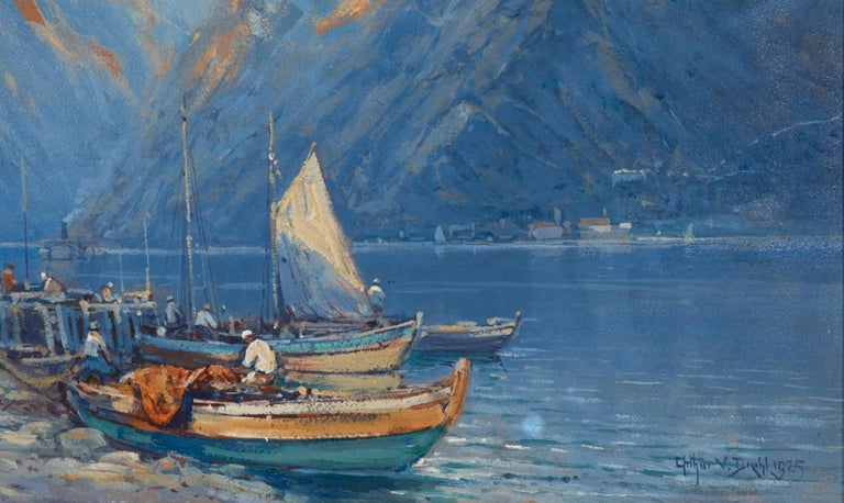 French Oil on Board by Arthur Vidal Diehl Mountains and Harbor For Sale