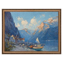 Oil on Board by Arthur Vidal Diehl Mountains and Harbor