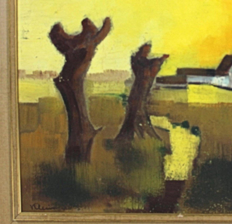 This lovely landscape of a sunset was painted by Paul Georges Klein, a 20th century French artist. (1909-1994) the painting was signed and dedicated by the artist on the back, dated 1969. This vintage piece would work well in a range of styles, both
