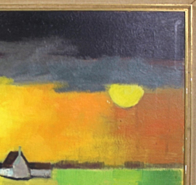 Hand-Painted Oil on Board by Paul Georges Klein For Sale