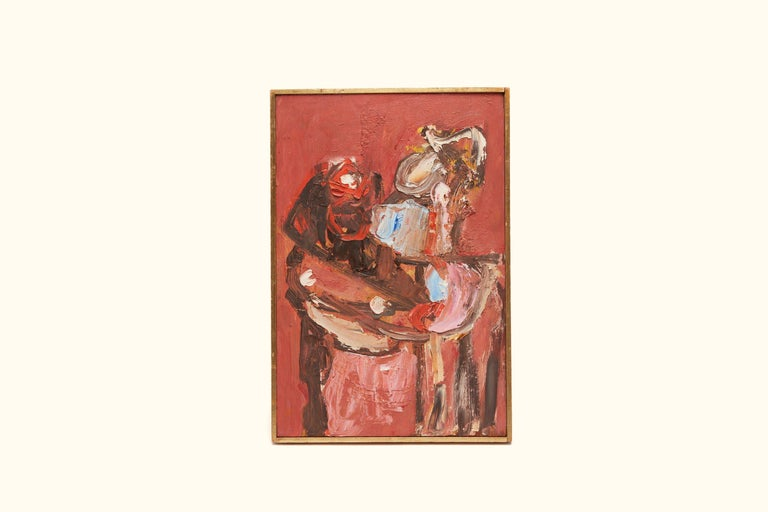 Mid-Century Modern Oil on Board by William Freed For Sale