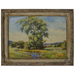 Oil on Board, Landscape with Tree, Signed V. HARTNACK
