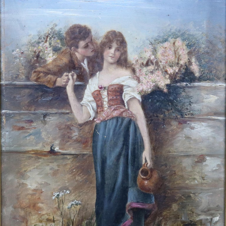 Antique neoclassical oil on board painting depicts courting scene in countryside setting, unsigned, seated in giltwood frame, circa 1890.  ***DELIVERY NOTICE – Due to COVID-19 we are employing NO-CONTACT PRACTICES in the transfer of purchased items.