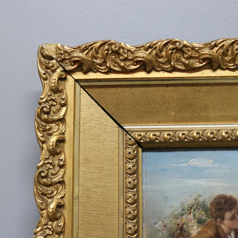 Greco Roman Oil on Board Neoclassical Painting of Courting Scene, circa 1890 For Sale