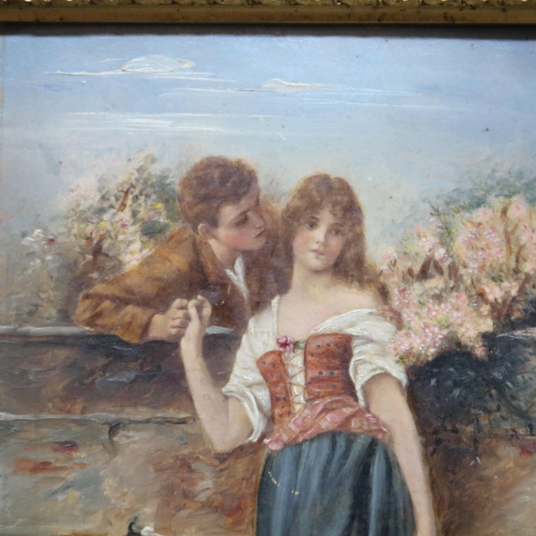 European Oil on Board Neoclassical Painting of Courting Scene, circa 1890 For Sale