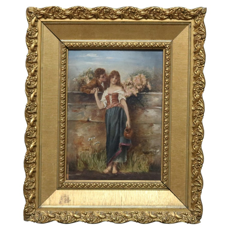 Oil on Board Neoclassical Painting of Courting Scene, circa 1890 For Sale