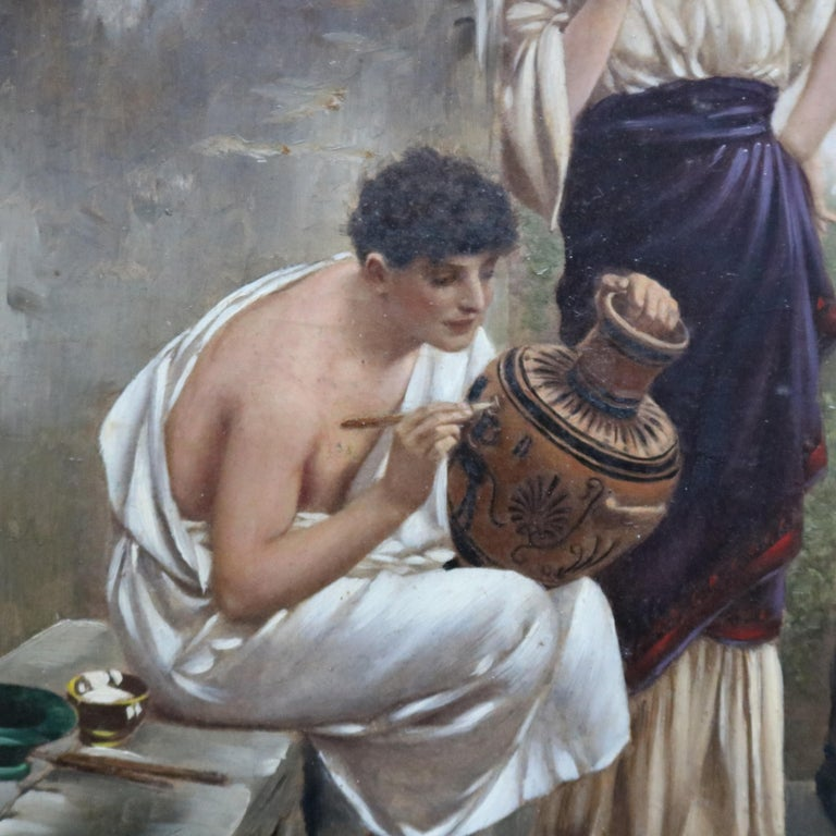 Antique neoclassical oil on board painting depicts Grecian courting scene in pottery workshop setting, unsigned, seated in giltwood frame, circa 1890  ***DELIVERY NOTICE – Due to COVID-19 we are employing NO-CONTACT PRACTICES in the transfer of