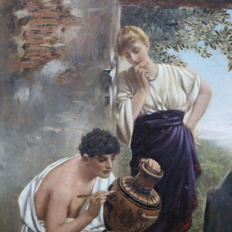 Classical Greek Oil on Board Neoclassical Painting of Courting Scene, circa 1890 For Sale