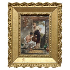 Oil on Board Neoclassical Painting of Courting Scene, circa 1890