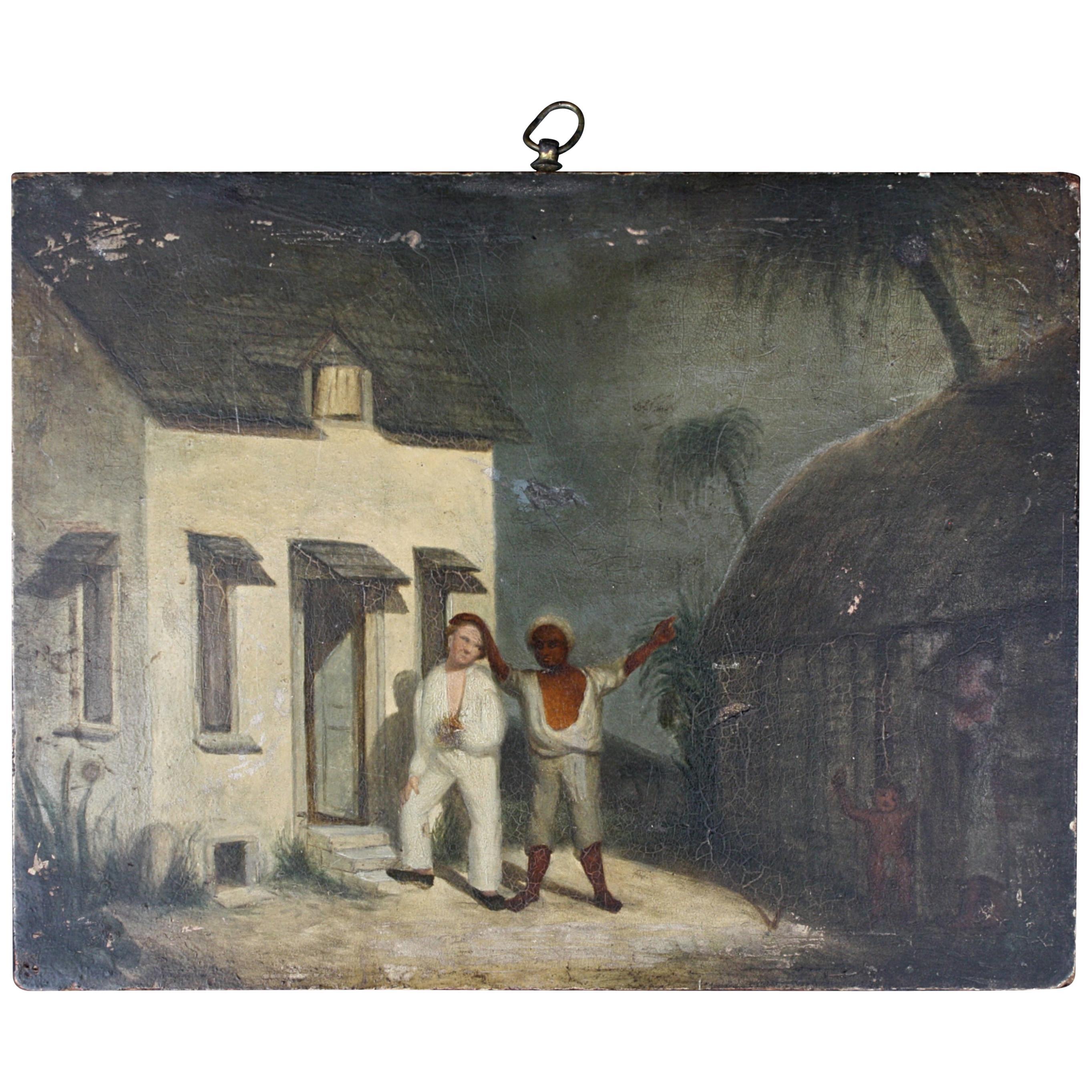 Oil on Board of a Mauritius Slave & His Family Folk Art, circa 1820