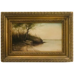 Oil on Board of Peaks Island in Maine Signed George M. Hathaway '1853-1903'
