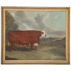 """Oil on Board of Prize Cow Signed """"Whitford 1867"""""""