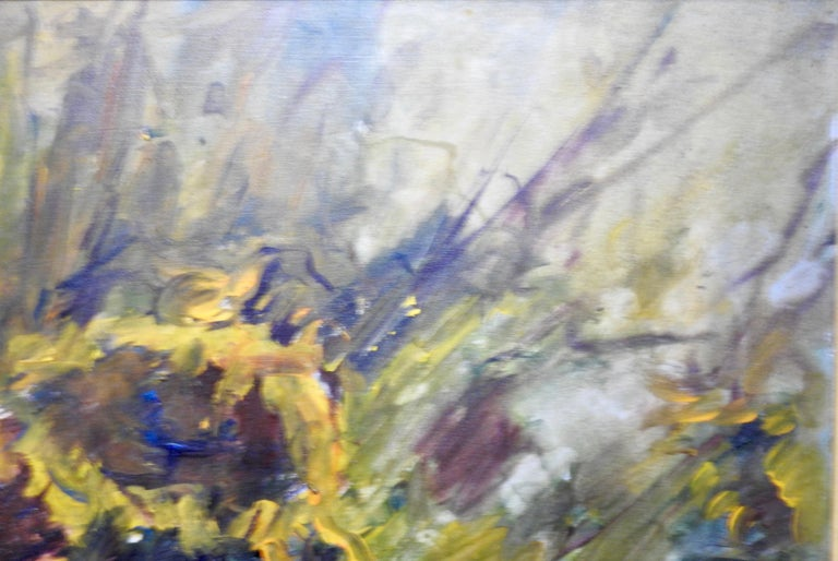 Hand-Painted Oil on Board of Sunflowers Signed Anton Weiss For Sale