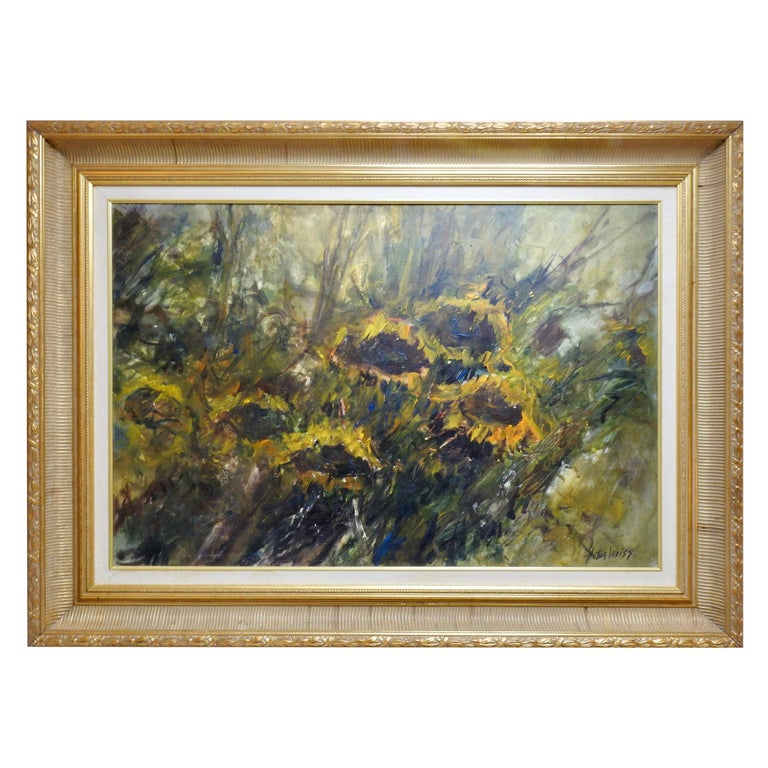 Oil on Board of Sunflowers Signed Anton Weiss For Sale
