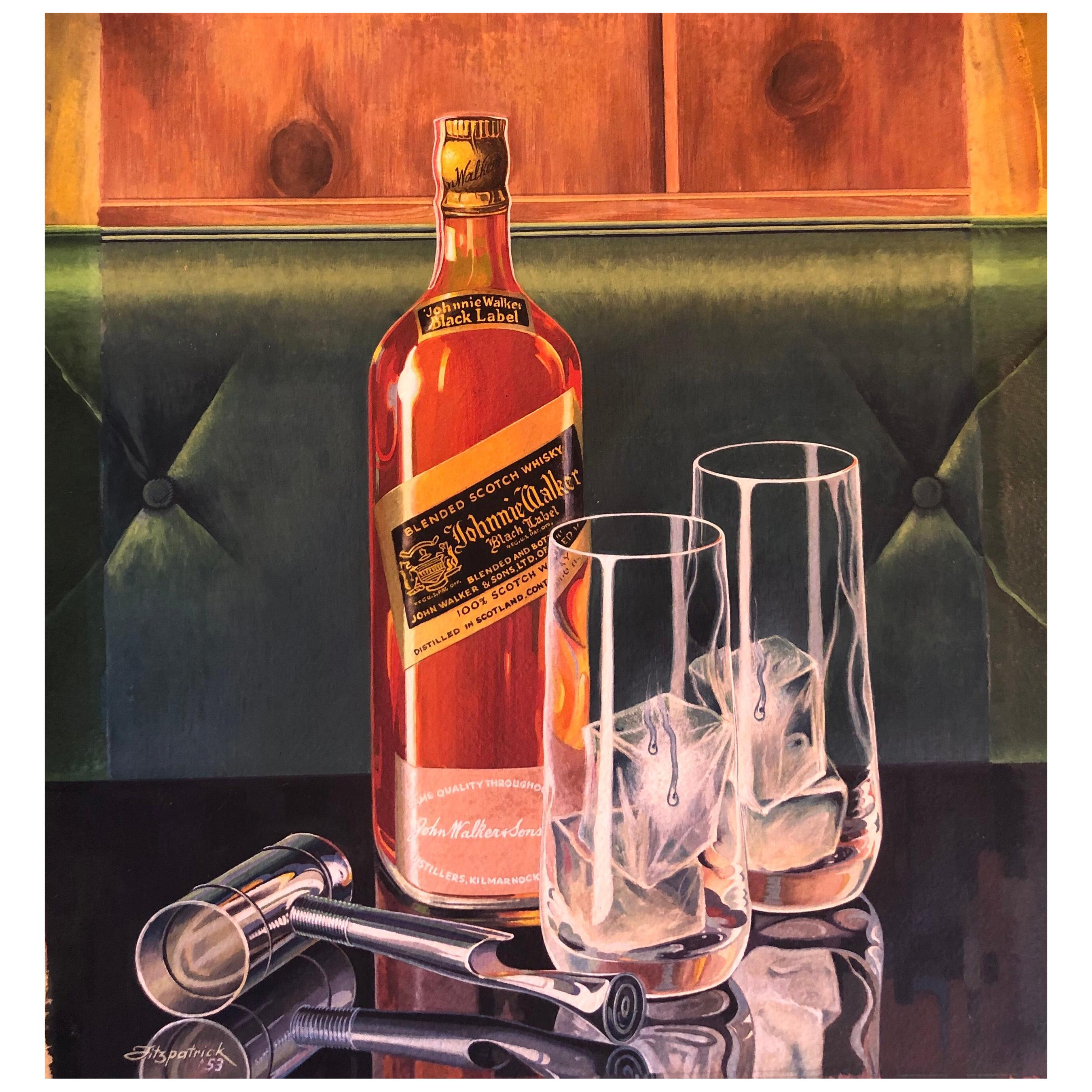 """Oil on Board Painting """"Johnnie Walker Black"""" by Listed Artist Arthur Fitzpatrick"""