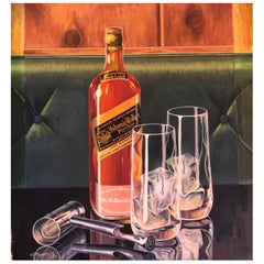 "Oil on Board Painting ""Johnnie Walker Black"" by Listed Artist Arthur Fitzpatrick"