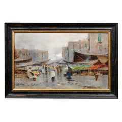Oil on Board Painting of Naples Market, Oscar Ricciardi